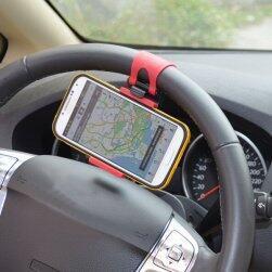 Okostelefon vagy GPS tartó autó kormányra - piros